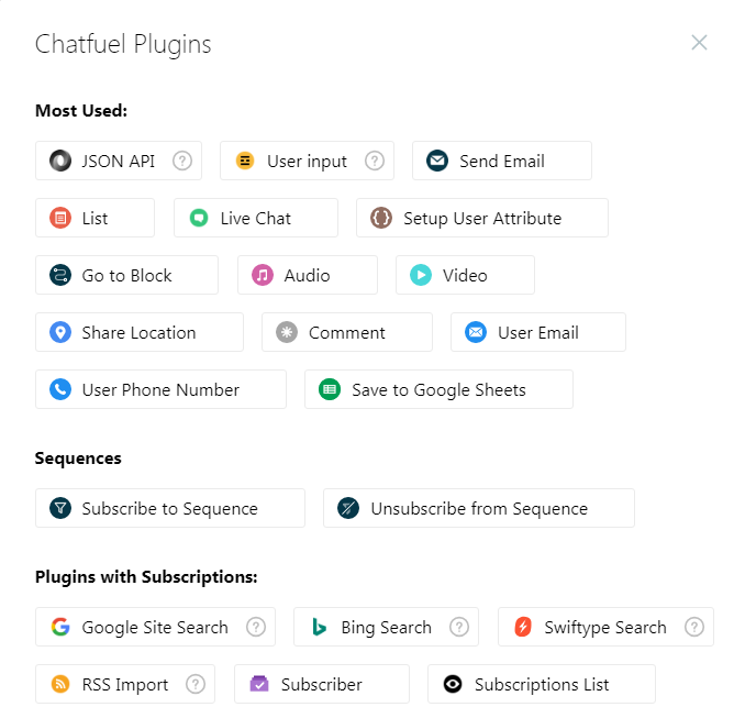 Chatfuel Cards and Plugins Examples for Facebook Messenger